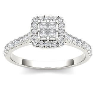 De Couer 10k Gold 1/2ct TDW Diamond Multi Stone Engagement Ring