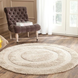 Safavieh Shadow Box Ultimate Beige Shag Rug (5' Round)