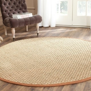 Safavieh Casual Natural Fiber Natural and Brown Border Seagrass Rug (6' Round)