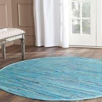 Safavieh Hand-woven Rag Rug Blue Cotton Rug - 6' Round