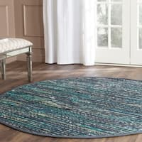 Safavieh Hand-woven Rag Rug Ink Cotton Rug - 6' Round