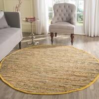 Safavieh Hand-woven Rag Rug Yellow Cotton Rug - 6' x 6' Round
