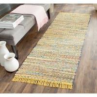 """Safavieh Hand-woven Rag Rug Yellow Cotton Rug - 2'3"""" x 8'"""