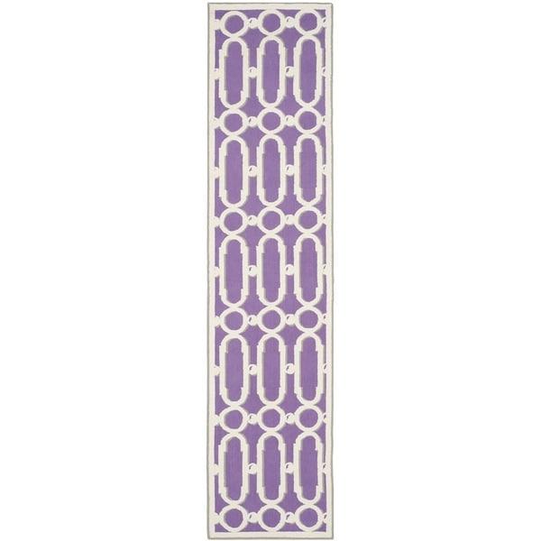Safavieh Hand-hooked Newport Purple/ White Cotton Rug - 2'3 x 10'