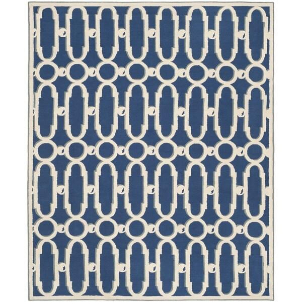 Safavieh Hand-hooked Newport Royal Blue/ White Cotton Rug - 7'9 x 9'9