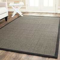 Safavieh Casual Natural Fiber Charcoal and Charcoal Border Sisal Rug - 4' Square