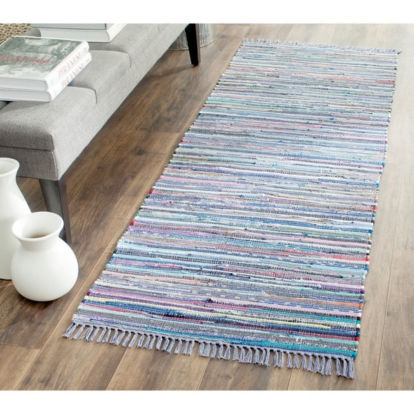 Safavieh Hand-woven Rag Rug Purple Cotton Rug (2'3 x 7') - 2'3 x 7'