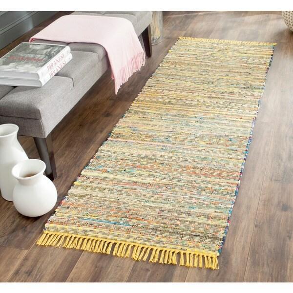 Woven Cotton Rag Rug Runner: Safavieh Hand-woven Rag Rug Yellow Cotton Rug (2'3 X 7