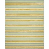 Isaac Mizrahi by Safavieh Handmade Beach Stripe Orange/ Green Wool Rug - 8' x 10'