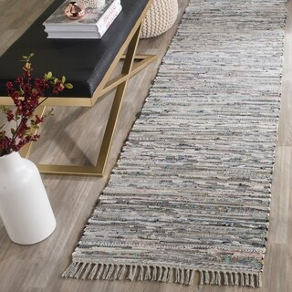 Safavieh Hand-woven Rag Rug Grey Cotton Rug - 2'3 x 8'