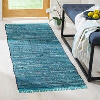 Safavieh Hand-woven Rag Rug Blue Cotton Rug (2'3 x 8') - 2'3 x 8'