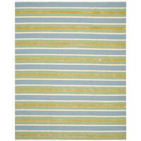 Isaac Mizrahi by Safavieh Handmade Beach Stripe Blue/ Green Wool Rug - 5' x 8'