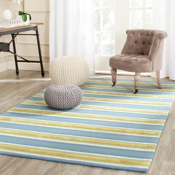 Isaac Mizrahi By Safavieh Handmade Beach Stripe Yellow/ Blue Wool Rug    5u0026#x27