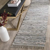 Safavieh Hand-woven Rag Rug Grey Cotton Rug - 2'3 x 7'
