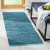 Safavieh Hand-woven Rag Rug Blue Cotton Rug - 2'3 x 7'