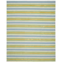 Isaac Mizrahi by Safavieh Handmade Beach Stripe Blue/ Green Wool Rug - 4' x 6'