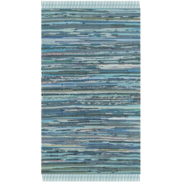 Safavieh Hand-woven Rag Rug Blue Cotton Rug (2'6 x 4') - 2'6 x 4'