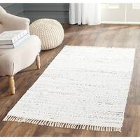 "Safavieh Hand-woven Rag Rug Ivory Cotton Rug - 2'6"" x 4'"