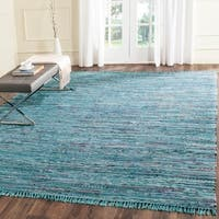 Safavieh Hand-woven Rag Rug Blue Cotton Rug (3' x 5') - 3' x 5'