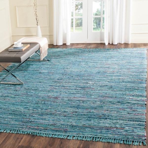 Shop Safavieh Hand-woven Rag Rug Blue Cotton Rug