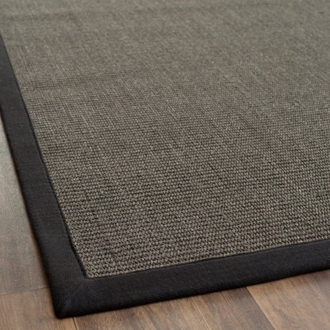 Safavieh Casual Natural Fiber Charcoal and Charcoal Border Sisal Rug - 2' x 3'