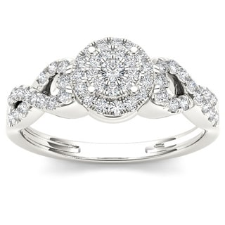 De Couer 10k Gold 2/5ct TDW Diamond Cluster Halo Engagement Ring