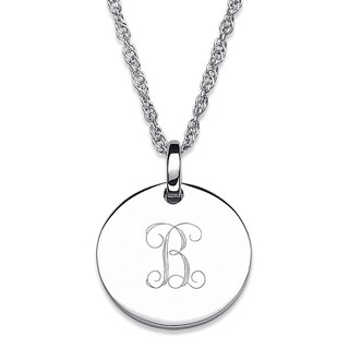Sterling Silver Petite Engraved Initial Pendant Necklace (More options available)
