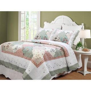 Maison Rouge Fleur Floral Patchwork 3-piece Cotton Quilt Set