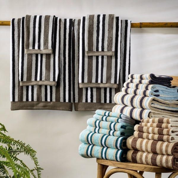 Miranda Haus Stripe Cotton Bath Towel (Set of 2). Opens flyout.