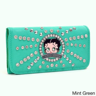 Betty Boop Rhinestone and Studded Starburst Accent Tri-fold Wallet