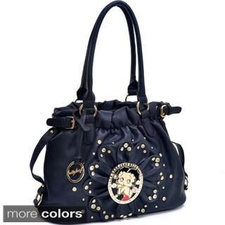 Betty Boop Rhinestone Studded Flat Bottom Hobo Bag