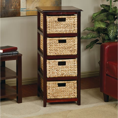 OSP Home Furnishings Seabrook Basket Storage Espresso Tower with Four Braided Removable Straw-grass Bins