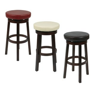 Round Faux Leather Seat and Circular Footrest 30-inch Barstool