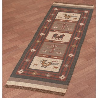 "Hand-woven Tribal Wool & Jute Runner Rug (2'6 x 8') - 2'6"" x 8'"