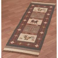 Hand-woven Tribal Wool & Jute Runner Rug (2'6 x 8')