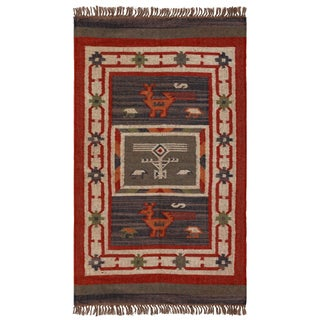Hand-woven Tribal Wool & Jute Area Rug (3' x 5')
