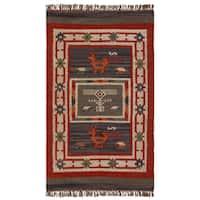 Hand-woven Tribal Wool & Jute Area Rug (3' x 5') - 3' x 5'