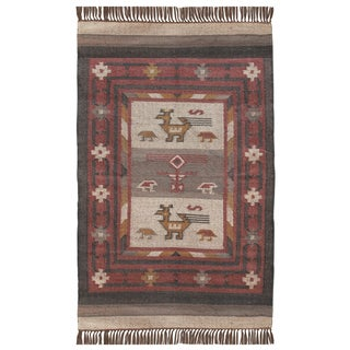 Hand-woven Tribal Wool & Jute Area Rug (3' x 5')