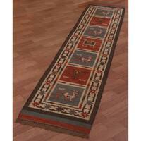 Hand-woven Tribal Wool & Jute Runner Rug (2'6 x 12') - 2'5 x 12'