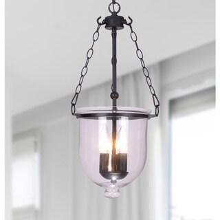 Antique Copper Glass 3-light Lantern Chandelier