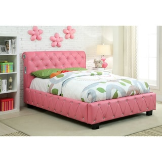 Furniture of America Toss Modern Pink Twin Faux Leather Platform Bed