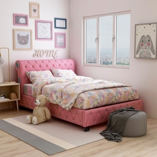 Furniture of America Emmaline Pink Leatherette Platform Bed with Bluetooth Speakers