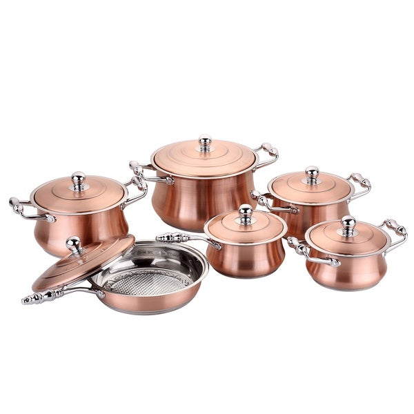 Tri Ply Copper Stainless Steel 12 Piece Cookware Set