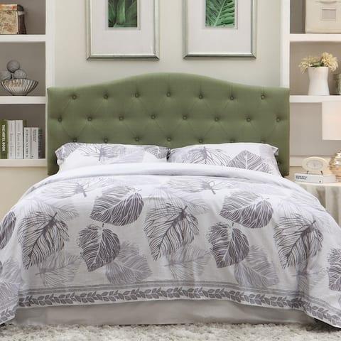 Furniture of America Kiff Modern Grey Full/Queen Flax Fabric Headboard