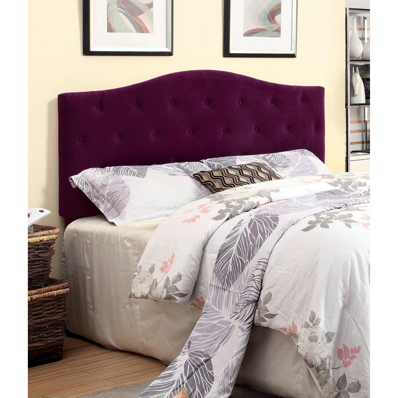 Furniture Of America Kiff Modern Flax Fabric Tufted Headboard