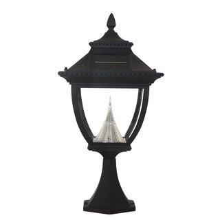 Gama Sonic GS-104P Pagoda Solar Light with 8 Bright-White LEDs, Pier Base for Flat Mount, Black Finish
