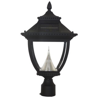 Gama Sonic GS-104F Pagoda Solar Light with 8 Bright-White LEDs, 3-Inch Fitter for Post Mount, Black Finish