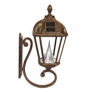 Gama Sonic GS-98W Royal Solar Light with 7 Bright-White LEDs, Wall Flat Mount, Weathered Bronze Finish