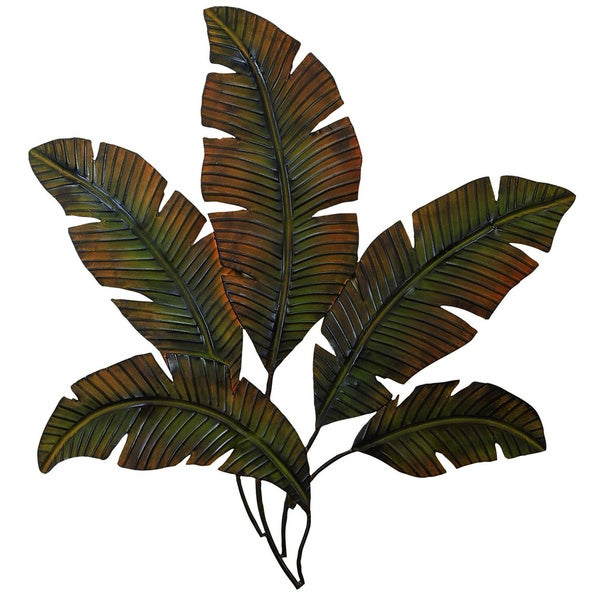 Metal palm wall decor with palm tree leaves free shipping today overstock 16293080 Home goods palm beach gardens