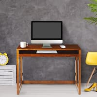 Modern Folding Desk with 4 USB Ports - Warm Brown